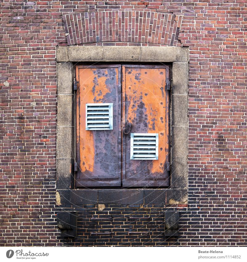 White Red Dark Wall (building) Architecture Building Wall (barrier) Exceptional Facade Metal Door Trip Adventure Hamburg Logistics Manmade structures