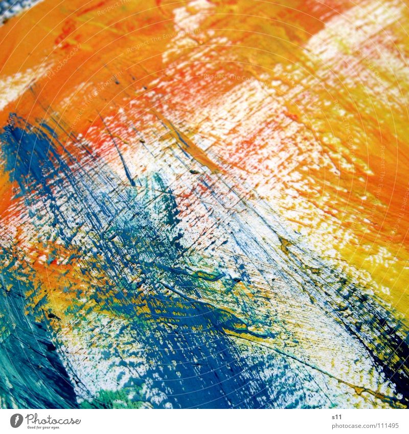 Colour traces III Trace of color Brush stroke Painting and drawing (object) Art Multicoloured Yellow Green Red White Background picture Extra Converse