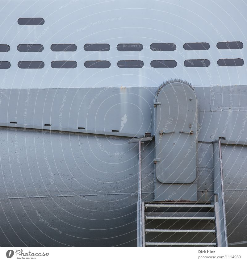 closed! Navigation Submarine Watercraft Gray Entrance Hatch Museum Stairs Historic Tin Steel Sheath Technology Dive Nautical Maritime Structures and shapes