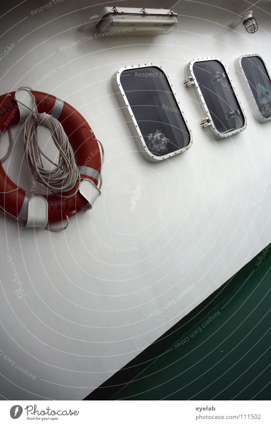 Safety guarantee on sea voyages now also for tensioners Watercraft Cargo-ship Ferry Transport Ocean Lake Swell Gale Life belt Window Green Steel White