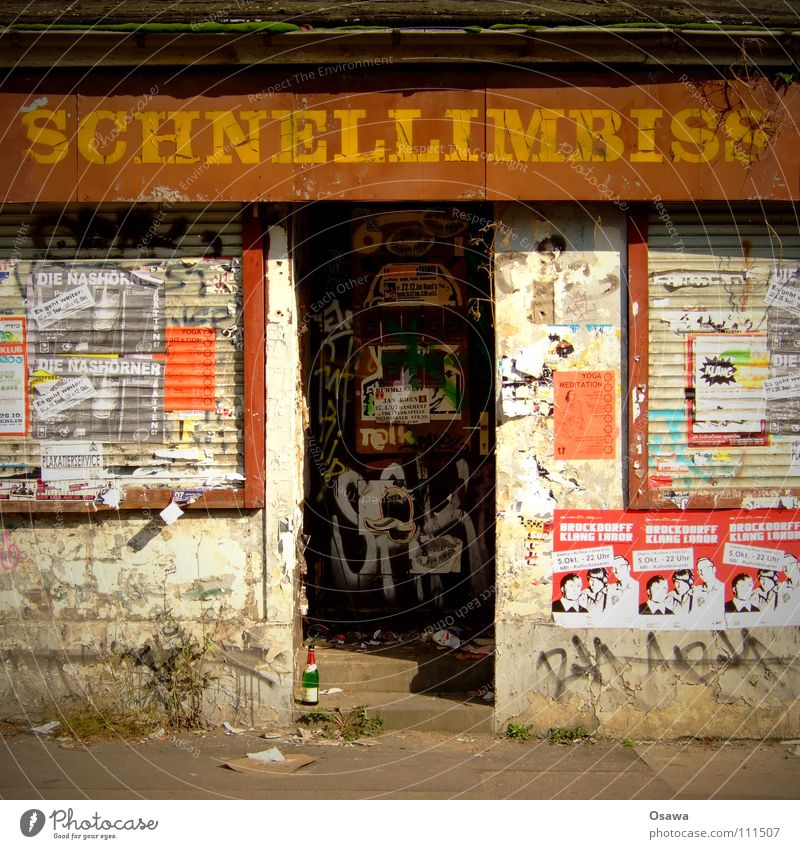 snack bar Snack bar Friedrichshain Ruin Vacancy Task Resign Upswing Economic miracle Insolvency Early retirement Social law Entrance Window Shop window