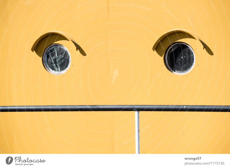 annoyance Steamer Watercraft Porthole Paddle steamer museum ship Metal Old Yellow Black Train window Hull Ship's side Steel glass break Handrail Abstract