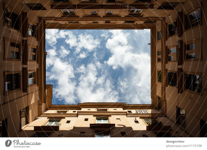 Skywards Clouds Climate Weather Beautiful weather Rome Italy Town Capital city House (Residential Structure) Building Wall (barrier) Wall (building) Window