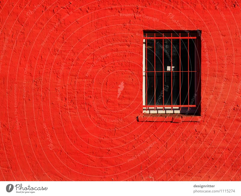 rage prison House (Residential Structure) Penitentiary Grating Window Plaster Aggression Threat Illness Town Anger Red Safety Protection Pain Fear Dangerous