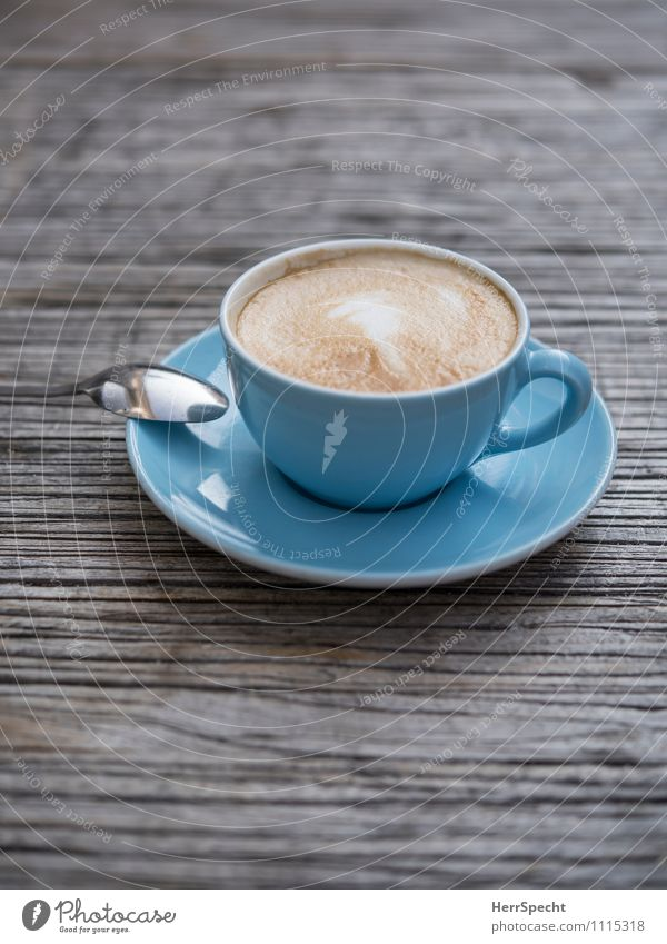 Café Bleu Beverage Hot drink Coffee Crockery Cup Spoon Restaurant Drinking Blue Sidewalk café Cappuccino milk foam Tabletop Wooden table Light blue Saucer