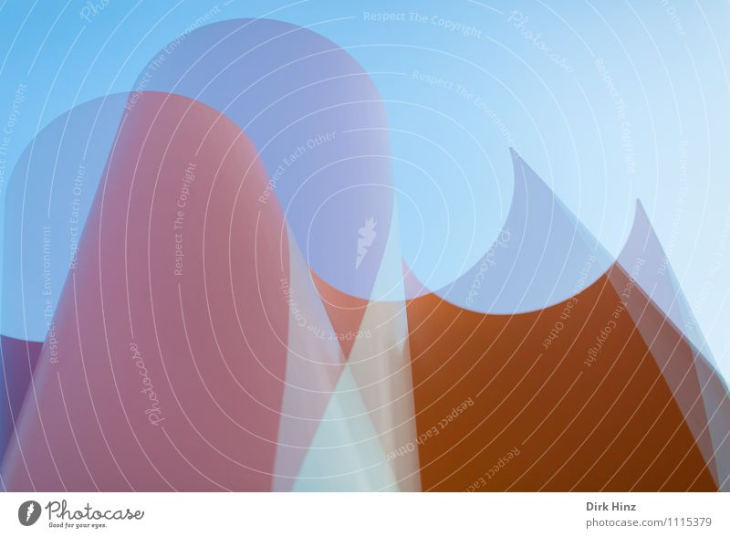 staggered Art Work of art Sculpture Architecture Blue Gray Orange Elegant Round Style Design Line Esthetic Exceptional Sharp-edged Point Simple Double exposure
