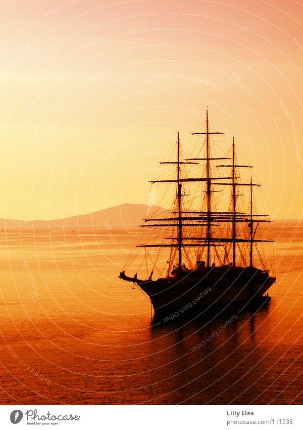 bateau dans le rouge Watercraft Ocean Sunset Red Pirate Yellow Adventure Greece Colour Orange Electricity pylon Evening Lighting Dusk Shadow Sail