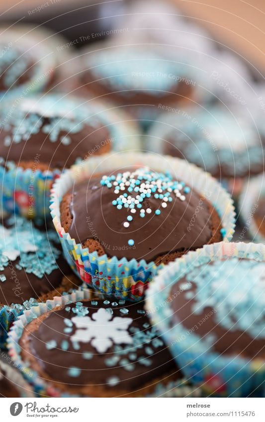 Chocolate muffins V Food Dough Baked goods Cake Candy Nutrition Eating To have a coffee muffin paper cups Coulored sugar candy Design Party