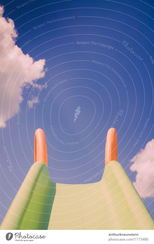 Children's slide in front of the sky Playing Children's game Summer Sun Garden Kindergarten Sky Clouds Spring Playground Blue Green Orange Joy Distress Infancy