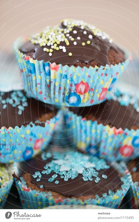 Chocolate muffins IV Dough Baked goods Cake Candy Nutrition Eating To have a coffee muffin paper cups Design Party Feasts & Celebrations Birthday
