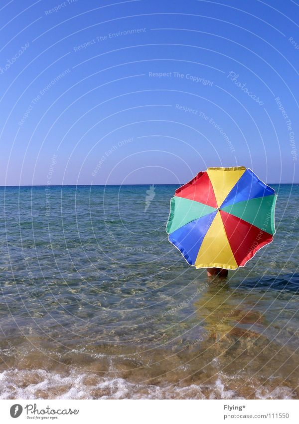 Water Sky Ocean Blue Summer Beach Far-off places Air Coast Free Horizon Empty Safety Protection Umbrella Striped
