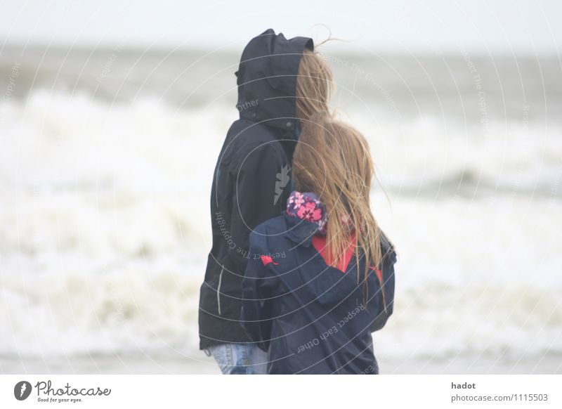 two blonde sisters Beach Ocean Child Human being Feminine Girl Sister 2 8 - 13 years Infancy Nature Sand Water Blonde Large Small children girls big natural sea