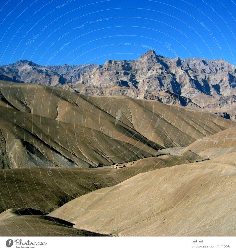 Sky Blue Vacation & Travel Mountain Earth Tall Hiking Climbing Vantage point Deep India Jammu, Ladakh, Kashmir Nepal Himalayas Winding road Ladakh