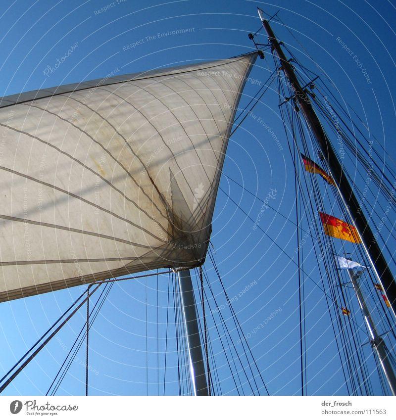 Sky Ocean Blue Watercraft Rope Flag Leisure and hobbies Sailing Electricity pylon Wanderlust Sail Aquatics Rigging Ahoy