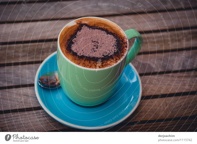 With heart Chocolate To have a coffee Hot drink Cappuccino Cup Spoon Joy Healthy Contentment Coffee froth Summer Drinking Culture Beautiful weather Restaurant