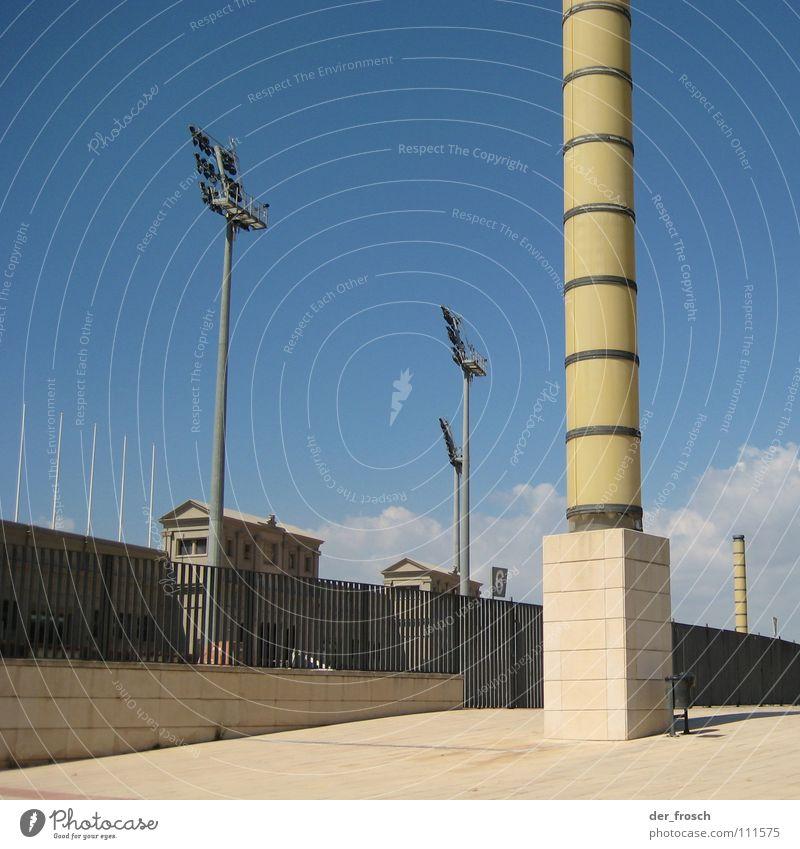 Sky Blue Architecture Column Barcelona Stadium Olympics Floodlight Olympic stadium