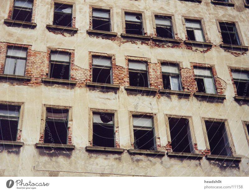 former GDR House (Residential Structure) Broken Building Window Wall (barrier) Historic Derelict Damage broken glass