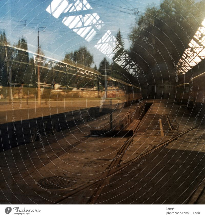...I'm still searching. Brown Green Gray Concrete Light Reflection Pane Window Diagonal Black Tree Sky Autumn Railroad tracks Tram Dresden Graphic Square