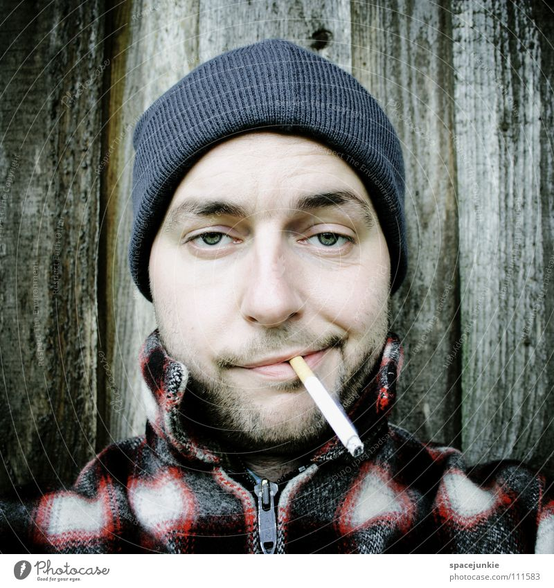 Just smoking (1) Man Portrait photograph Cap Smoking Cigarette Tobacco Tobacco products Inhale Smoke Unhealthy Nicotine Crazy Whimsical Joy
