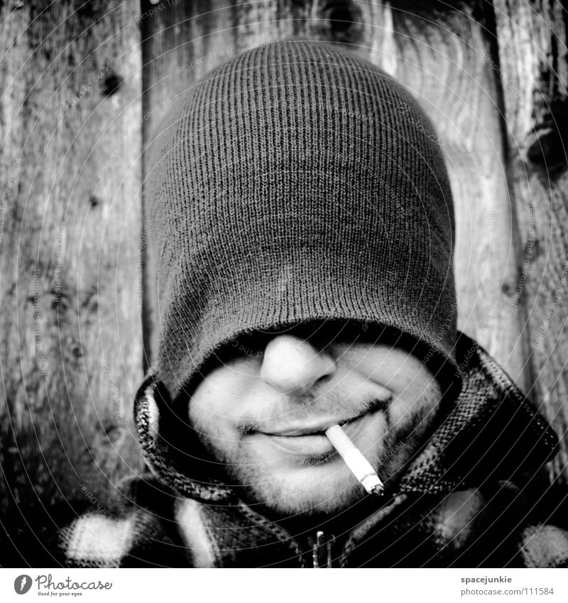 Just smoking (2) Man Portrait photograph Cap Smoking Cigarette Tobacco Tobacco products Inhale Smoke Unhealthy Nicotine Crazy Whimsical Joy Black & white photo