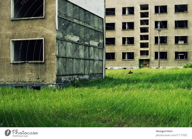 House (Residential Structure) Loneliness Life Death Window Empty Transience Derelict Decline Past Live Prefab construction Army Military building Tower block