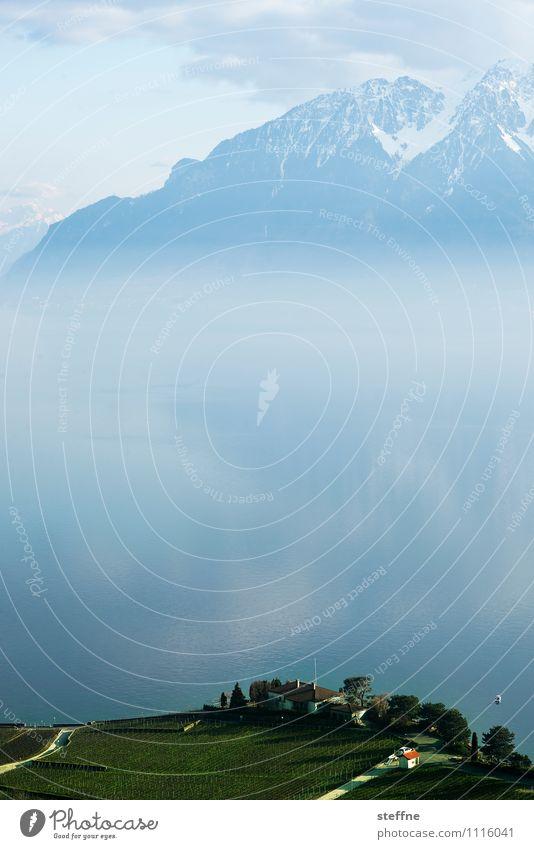 Around the World: Lake Geneva Mountain Peak Esthetic Lausanne Alps Fog Copy Space middle