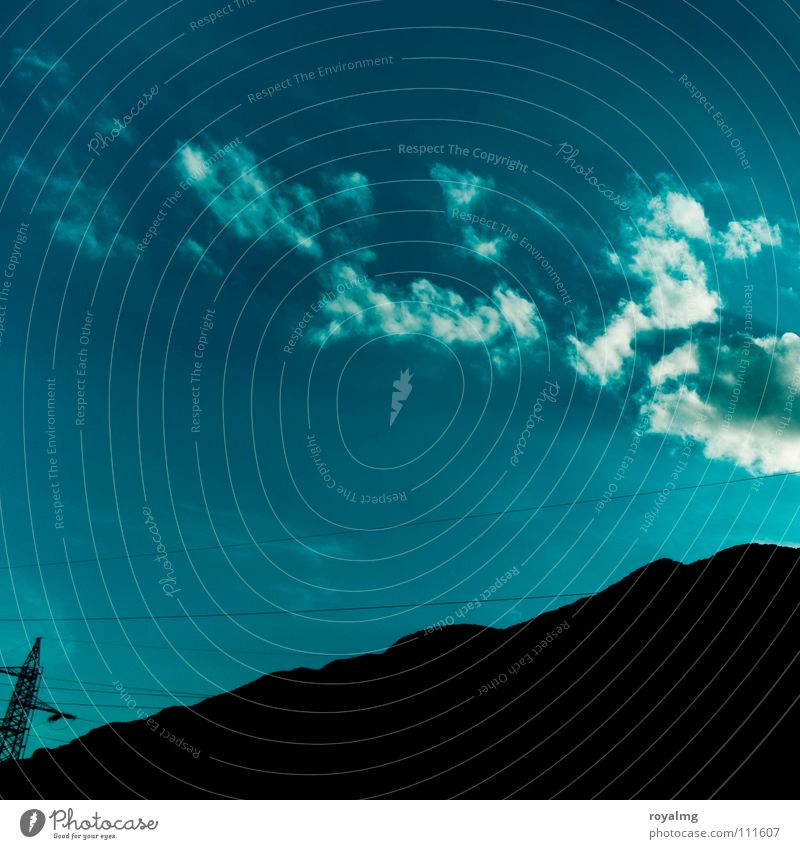 Sky White Blue Summer Black Clouds Mountain Industry Energy industry Electricity Peak Electricity pylon Transmission lines High voltage power line