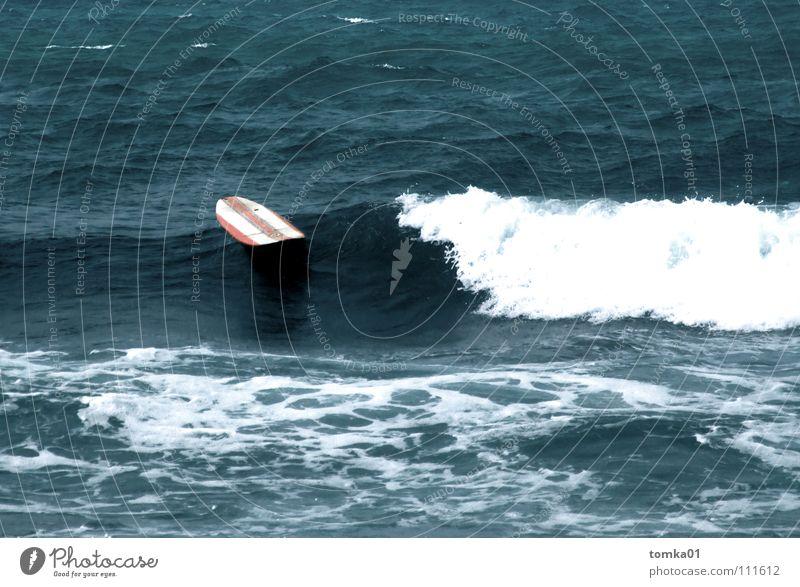 Open Water Surfboard Red Striped Aquatics Dive Wet Ocean Europe Waves Surfing Spain Shark Dangerous Drown Miss Go under Accident Float in the water Wood Eerie
