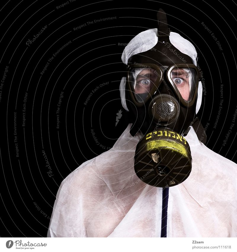 *SELF-PROTECTION* III Poison gas Carbon dioxide Respirator mask Protective clothing Suit Sterile Safety (feeling of) Portrait photograph Environment