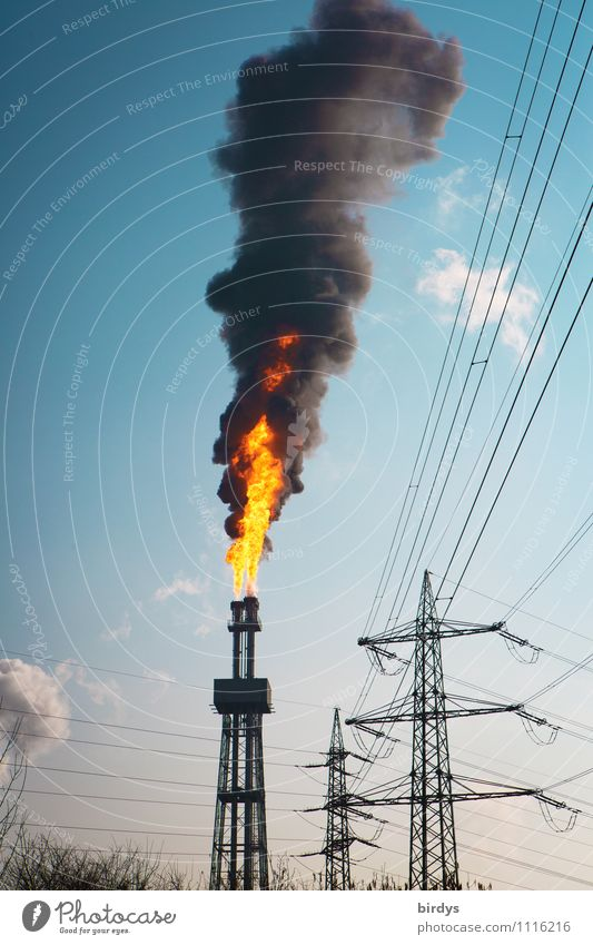 Fault the third Fire Cloudless sky Beautiful weather Industrial plant Tower Chimney Smoke Authentic Gigantic Hot Tall Blue Yellow Black Dangerous Disaster