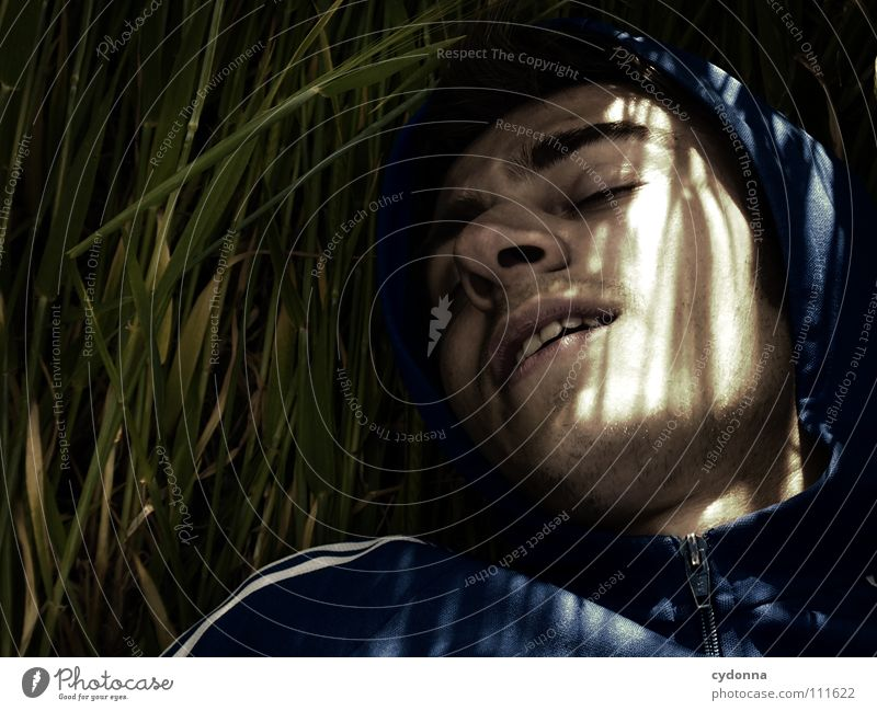 Human being Man Nature Beautiful Sun Summer Dark Cold Relaxation Meadow Grass Dream Think Warmth Lighting Field