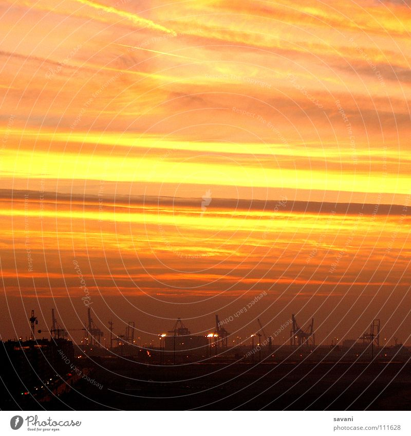 Sky Red Sun Ocean Clouds Landscape Yellow Coast Orange Transport Stripe Technology Industry Industrial Photography Logistics Harbour