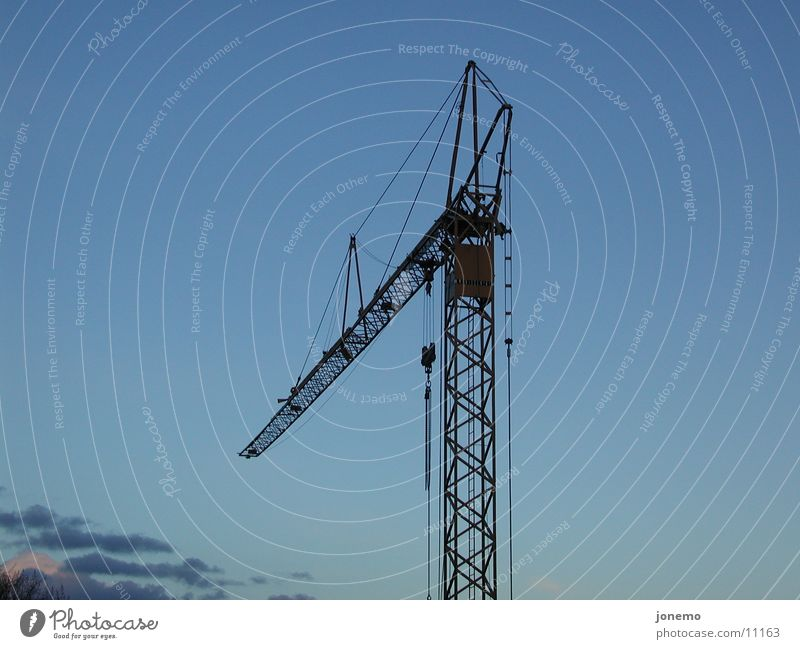 crane Construction site Sky Clouds Large Crane Things Colour photo Exterior shot Aerial photograph Deserted Neutral Background Evening Silhouette