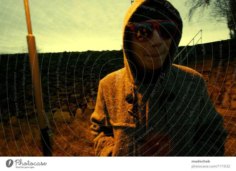 :::TO REJOICE THIEVINGLY Man Sunglasses Jacket Winter Yellowness Human being Style Stupid Lantern Street lighting Dike Lifestyle Nordic Sky Lips Cold Trashy