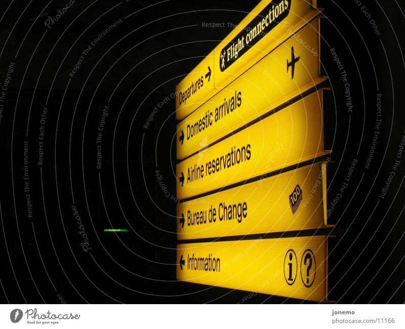 At the airport Information Orientation Aviation Airport Road marking departures exchange office