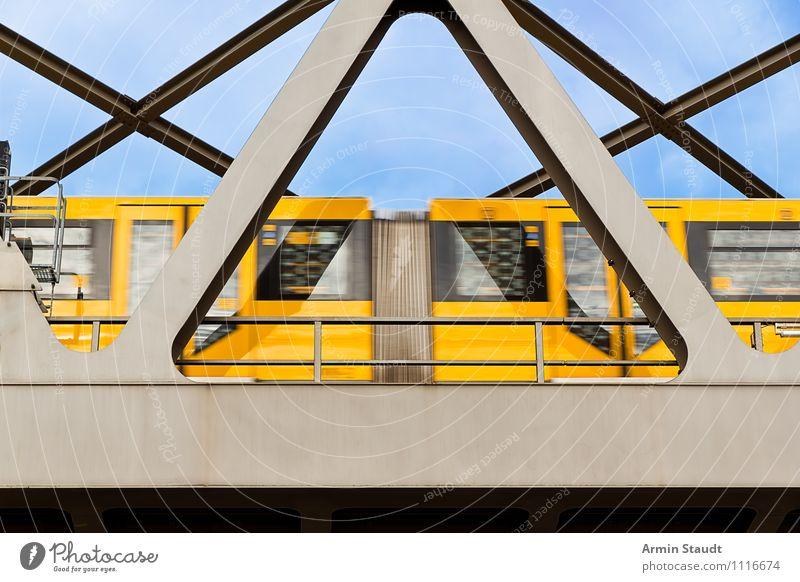 Sky Vacation & Travel City Summer Yellow Movement Berlin Dirty Authentic Political movements Bridge Railroad Logistics Driving Wanderlust Steel