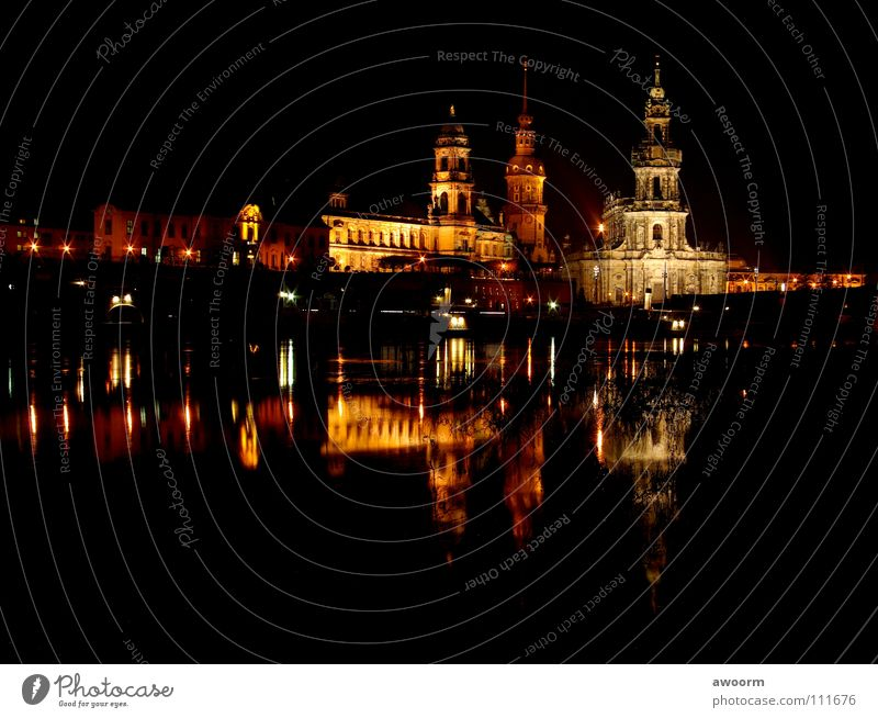 Dresden_old town Hofkirche Night Light Semper Opera Steamer Watercraft Elbe River Bridge
