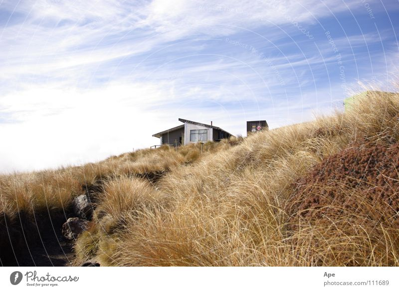 About time! Accommodation New Zealand Hiking Steppe Sky Clouds Mountain Australia Hut Protection Tongariro Wind Hat shelter crossing