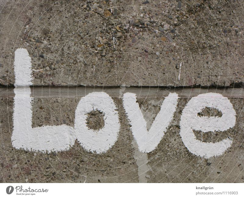 love Wall (barrier) Wall (building) Facade Characters Graffiti Communicate Town Gray White Emotions Love Infatuation Colour photo Exterior shot Deserted
