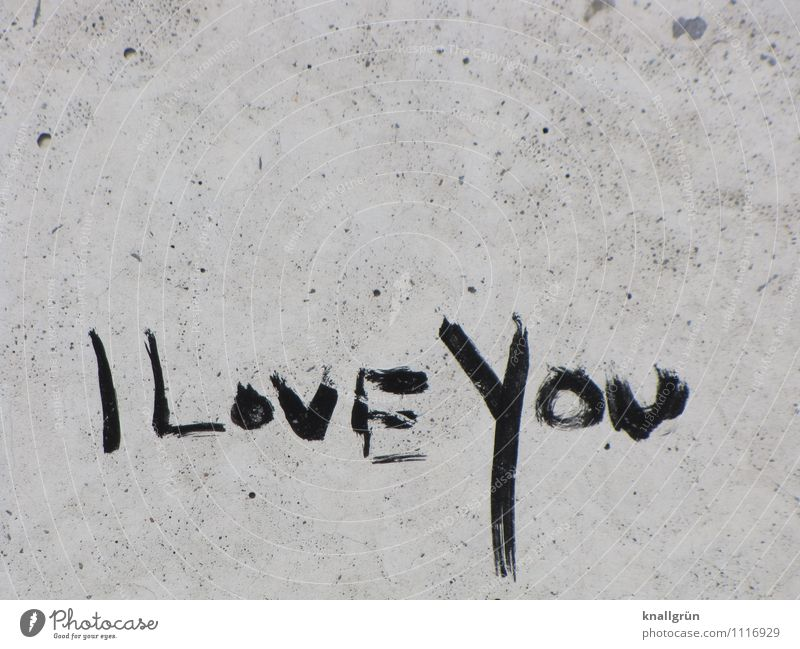 I Love You Wall (barrier) Wall (building) Facade Characters Communicate Dirty Town Gray Black Emotions Infatuation Relationship i love you Graffiti Colour photo