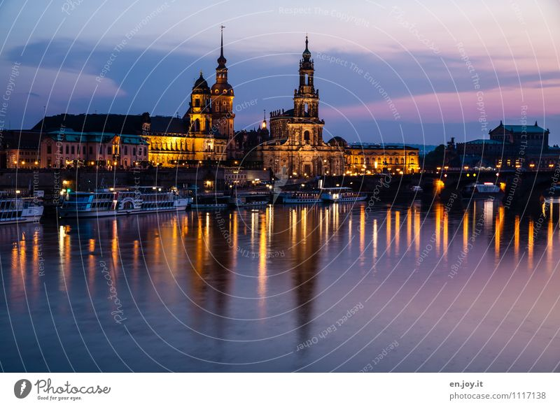 300 | festive lighting Vacation & Travel Tourism Trip Sightseeing City trip Night life River Elbe Dresden Saxony Germany Town Skyline Church Castle Tower