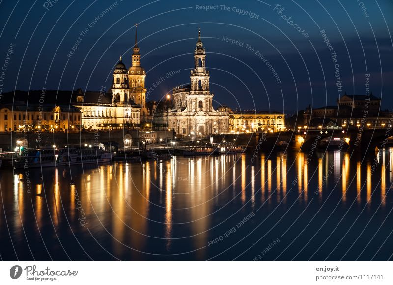 Gold and Silver Vacation & Travel Tourism Trip Sightseeing City trip Night life Lighting Sky Night sky River Elbe Dresden Saxony Germany Town Skyline Church