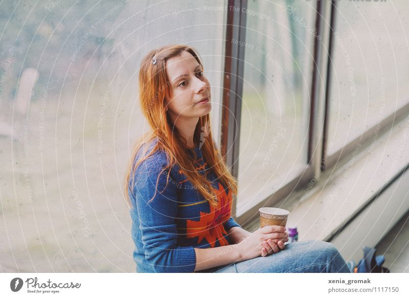 Woman at the window, coffee, dreamy Lifestyle Elegant Style Design Joy Leisure and hobbies Feminine Young woman Youth (Young adults) 1 Human being 18 - 30 years