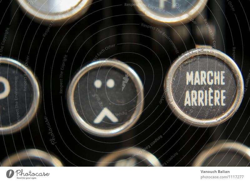 Smiley on old typewriter 1/3 Sign Characters Digits and numbers Signs and labeling Emotions Moody Sadness Concern Grief Fatigue Reluctance Disappointment