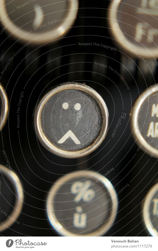 Smiley on old typewriter 2/3 Sign Sadness Concern Grief Lovesickness Fatigue Reluctance Pain Longing Homesickness Wanderlust Disappointment Loneliness