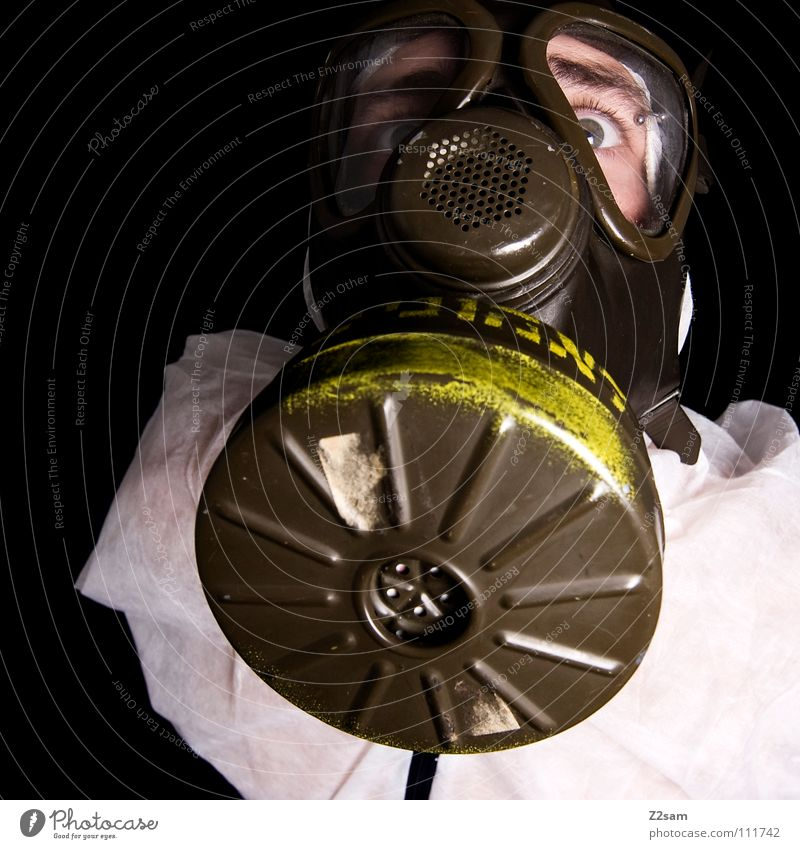 ABC-ANGRIFF II Poison gas Carbon dioxide Respirator mask Protective clothing Suit Sterile Safety (feeling of) Portrait photograph Environment Air pollution