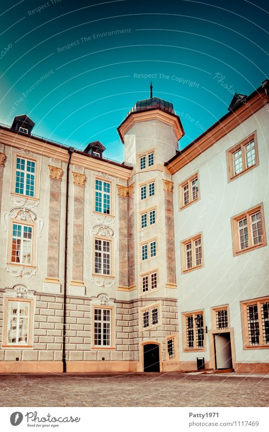Baroque castle Ettlingen Tourism City trip illusion painting Baden-Wuerttemberg Germany Europe Small Town Castle Interior courtyard corner tower Retro