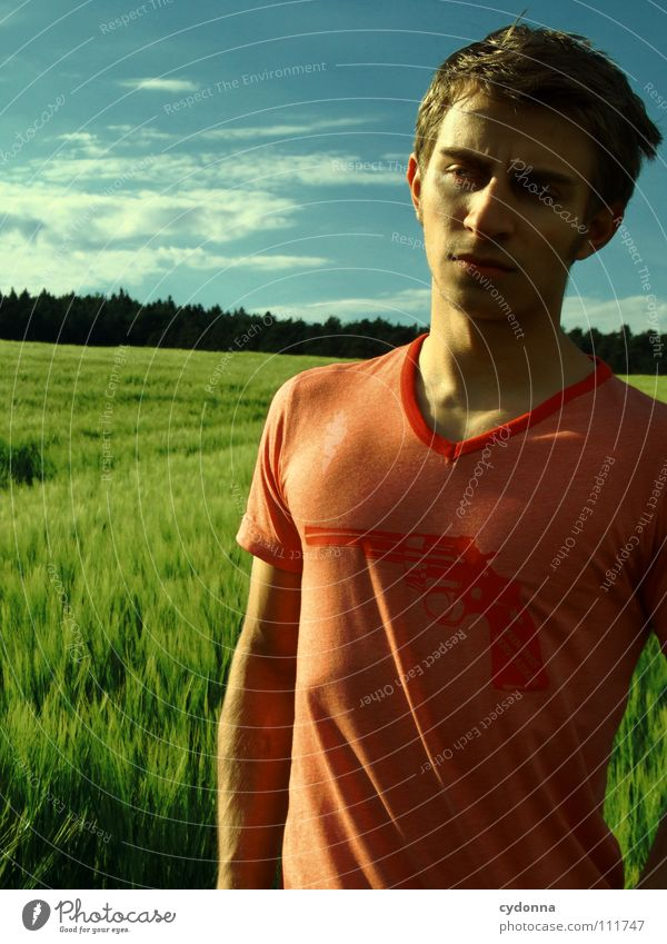 Human being Sky Man Nature Beautiful Clouds Landscape Meadow Style Think Fashion Field Stand Clothing New Retro