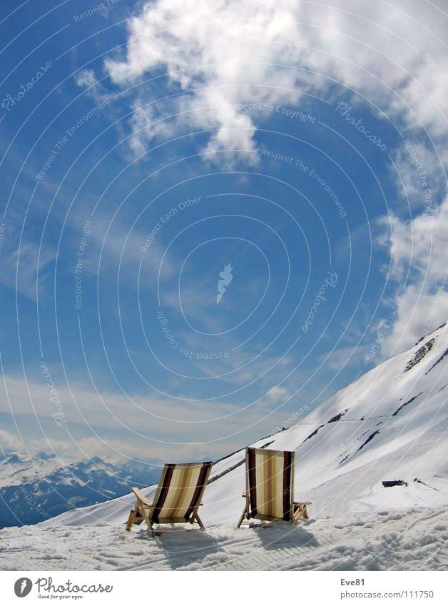 Sun Winter Clouds Snow Mountain Together Switzerland Deckchair Seasons