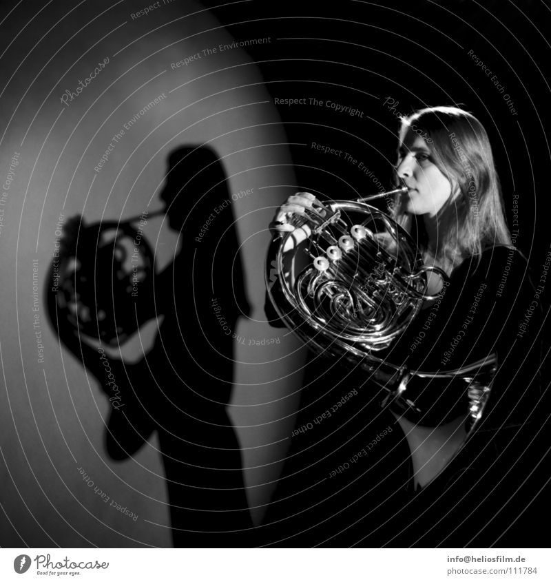 horn player Shadow play Wind instrument Light and shadow Concert Music Antlers Musical instrument Black & white photo